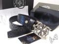 メンズ用のCHROME HEARTS 1.5OTJ フィリグリー 34インチ シルバーバックルとブラック本革 お得安いクロムハーツ メンズベルト.