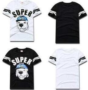 存在感とソフトな肌触りが良いシュプリーム、 Supremeのお買い得HOTの黒、白犬画像のメンズ半袖Tシャツ.