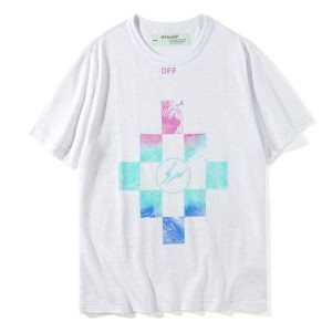 ☆夏季限定☆オフホワイト サンダーイラスト Tシャツ 2018人気モデル off-white 半袖 夏着 個性 メンズ ファッション