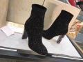 品質保証定番人気キラキラブラックショートブーツジミーチュウ レディース 靴太ヒール秋冬の定番はコレレディース