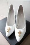 クロム ハーツ パンプス ピンヒール シューズ 十字架ロゴが付き 期限限定の女性CHROME HEARTS 10cm ポインテッドトゥ ハイヒール 靴.