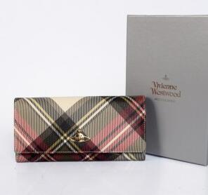 高級感のヴィヴィアン ウエストウッド コピー、Vivienne Westwoodの二つ折りチェック長財布.