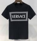 爆買い送料無料ロゴプリントtシャツブラックホワイトサイズ豊富男性用半袖トップスVERSACEヴェルサーチ 偽物